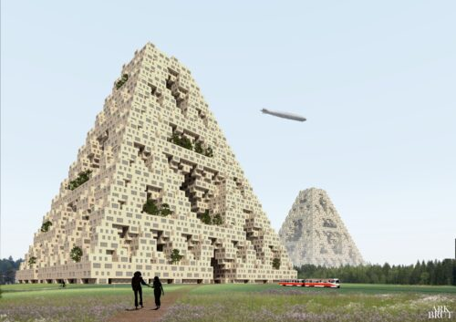 Wooden Pyramid: a modular vertical village, © Ark Brut;Image from submissions in response to the open call for Future Visions by Architects Declare Finland